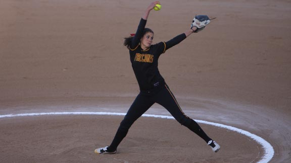 One of the top girls' athletes at Torrey Pines was all-state softball pitcher Rachel Nasland (headed next to Notre Dame). Photo courtesy of family.