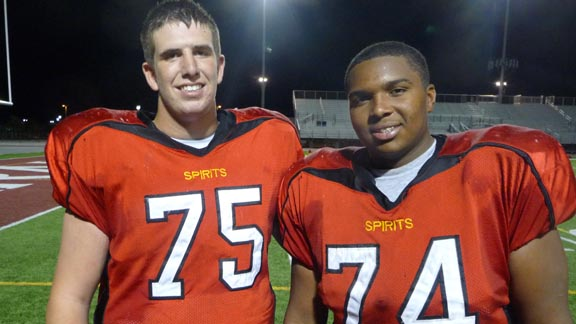 Mason Van Kirk (290 pounds) and D'errick Chambers (285) are two linemen to watch for Paraclete of Lancaster when it plays at Oakdale this weekend. Photo: Mark Tennis.