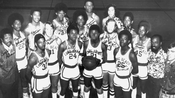 Tony Gwynn is holding the ball in this photo of him with the Long Beach Poly 1975-76 basketball team, which is the State Team of the Year for that season and ended No. 3 in the National Sports News Service final national rankings. Photo: Courtesy collection by historian Bruce McIntosh.