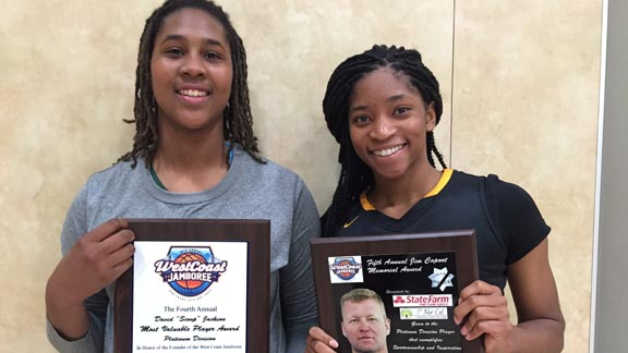 Long Beach Poly's Ayanna Clark (left) and Bishop O'Dowd's Myah Pace (right) both collected hardware at the West Coast Jamboree and both made it to first team all-state juniors. Photo: Harold Abend.