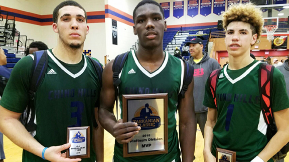 Gelo Ball, Eli Scott and Melo Ball (L-R) have been major reasons why Chino Hills' winning streak is up to 48 games. Gelo is the arguably the state's best scorer, Scott does plenty of dirty work around the rim and Melo has taken over at point guard for older brother Lonzo Ball in spectacular fashion. Photo: Nick Koza